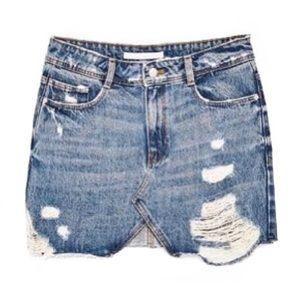 Zara Trafaluc Distressed Denim Mini Skirt